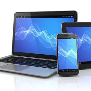 Laptop, tablet and cellphone with blue screens.