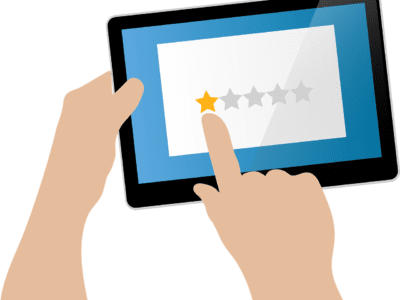 Illustration of a hand tapping one star for a review on a tablet.