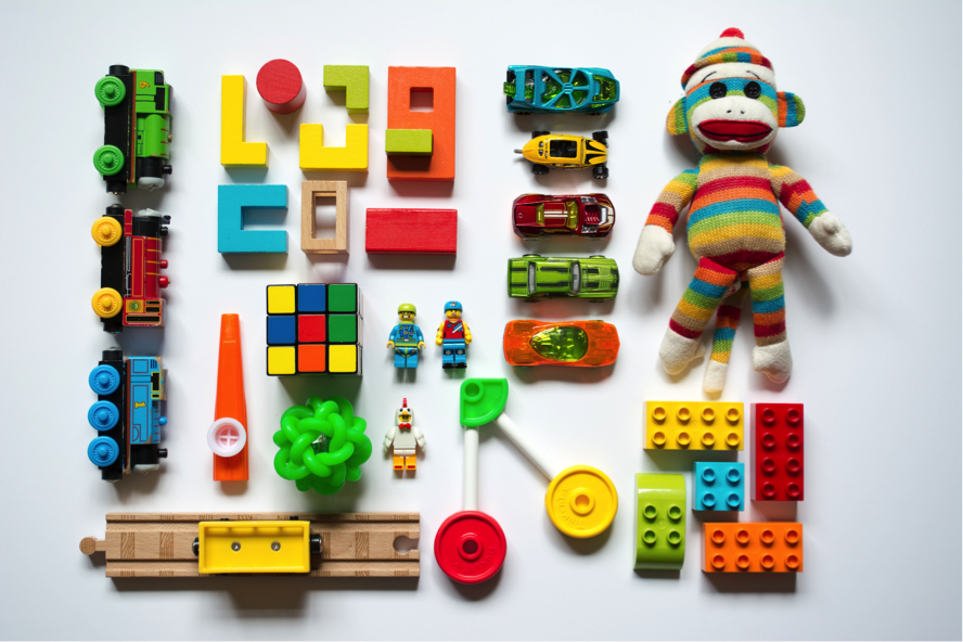 Toys like: Legos, Nerf toys, animals and people figures, some dolls, balls, mega blocks, instruments, trains and tracks, magna-tiles, pretend food and kitchen items