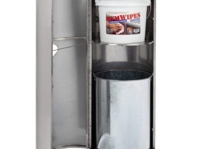 Front view Stainless Stand with door open holding GymWipes Professional Formula and trash bin.