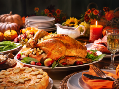 Photo of a thanksgiving dinner.