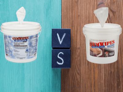GymWipes Antibacterial vs GymWipes Professional.