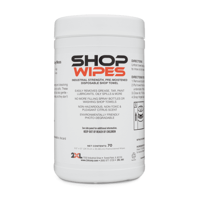 Front view of Shop Wipes.