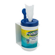 Side view of white wall mount holding Force Disinfecting Wipes.