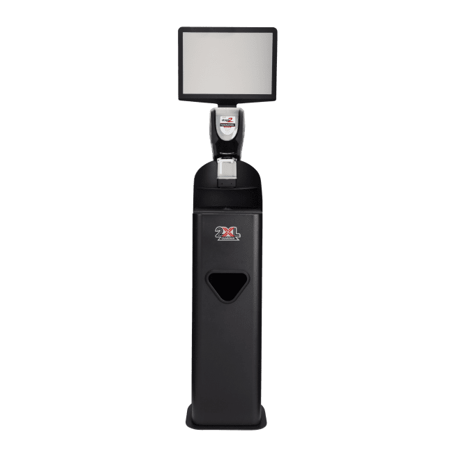 Front view of black 2XL Guardian stand with sign and foam dispenser.
