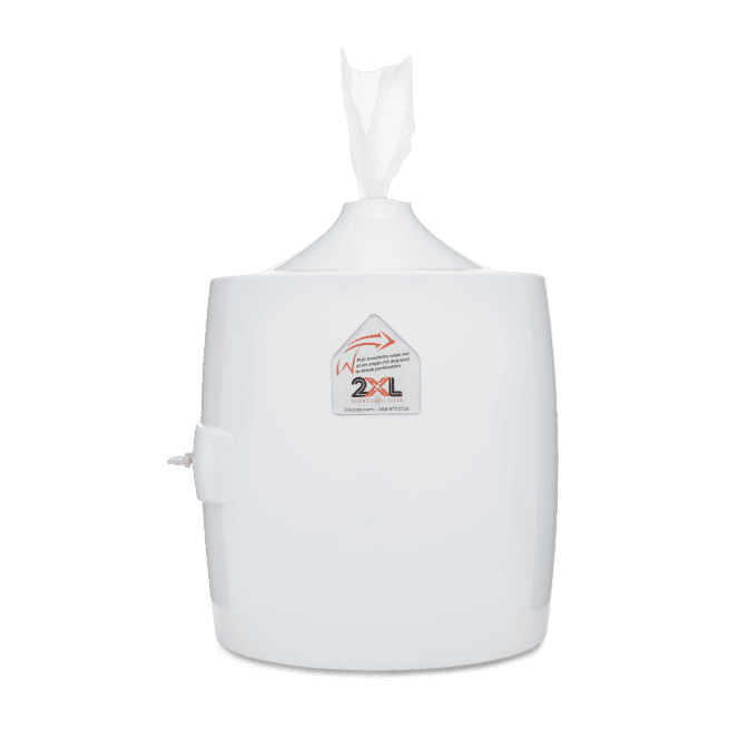Front view of white wall dispenser.