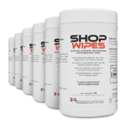 Front view of Shop Wipes, group shot.
