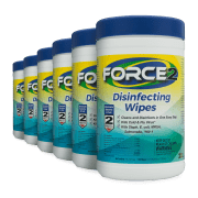 Front view of Force2 Disinfecting Wipes, group shot.